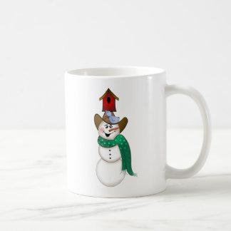 Cowboy-Schneemann mit Birdhouse Kaffeetasse