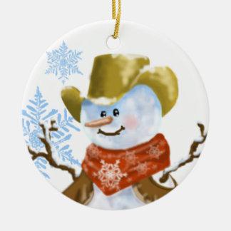Cowboy-Schneemann-Weihnachtsverzierung Keramik Ornament