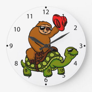 Cowboy-Trägheit Reitschildkröte Große Wanduhr