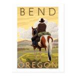 Cowboy u. Pferd - Biegung, Oregon Postkarte