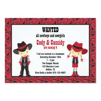 Cowboy-und Cowgirl-Geburtstags-Einladungen 12,7 X 17,8 Cm Einladungskarte