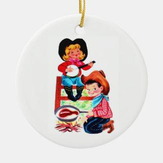 Cowboy und Cowgirl Keramik Ornament