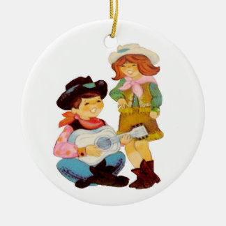Cowboy-und Cowgirl-Sänger Keramik Ornament