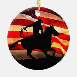 Cowboy-und Flagge-Weihnachten Ornamemt Keramik Ornament