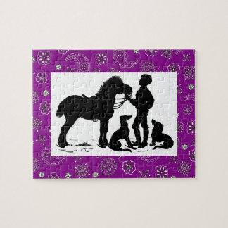 Cowboy-und Pferdepuzzlespiel Puzzle