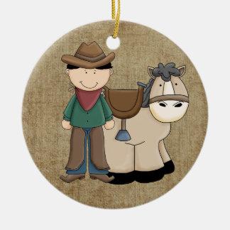 Cowboy und sein Pferd Keramik Ornament