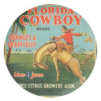 Cowboy-Vintage Frucht-Aufkleber-Platte KRW Florida Teller