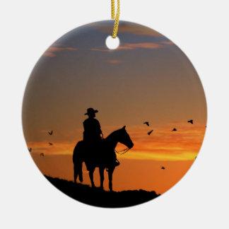 Cowboy-Weihnachtsverzierung Keramik Ornament