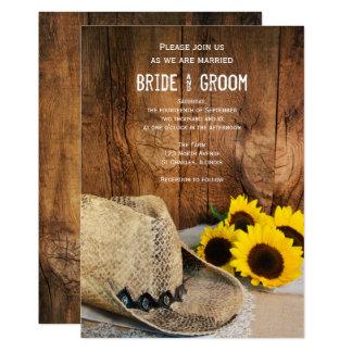 Cowboyhut, Sonnenblume-Scheunen-hölzerne 12,7 X 17,8 Cm Einladungskarte