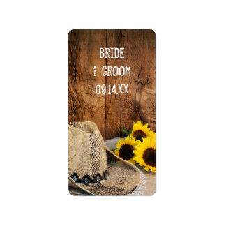 Cowboyhut, Sonnenblumen, Scheunen-hölzerne Adressaufkleber