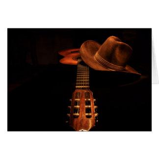 Cowboyhut und Gitarre BronzeWestern Karte
