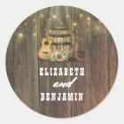 Cowboystiefel-und Sonnenblume-Land-Hochzeit Runder Aufkleber