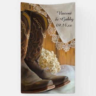 Cowboystiefel-und Spitze-Land-Hochzeit Banner