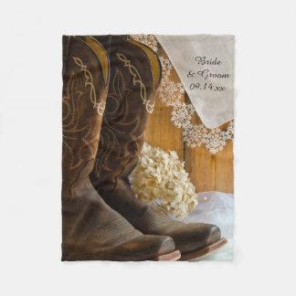 Cowboystiefel-und Spitze-Land-Hochzeit Fleecedecke