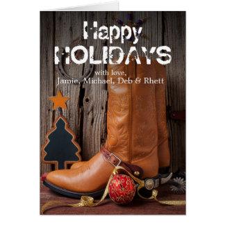 Cowboystiefel und Weihnachtsverzierungen Karte