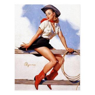 Cowgirl auf einem Zaun Button-Oben Postkarte