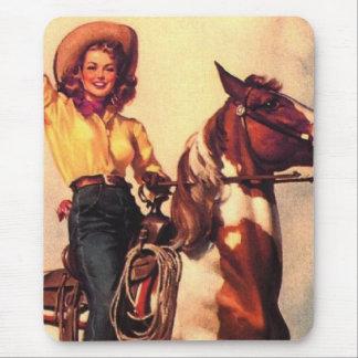 Cowgirl auf ihrem Pferd Mauspads