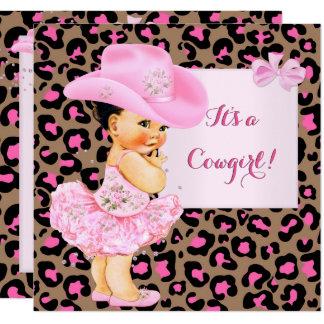 Cowgirl-Baby-Duschen-Rosa-Leopard-Mädchen brünett Karte