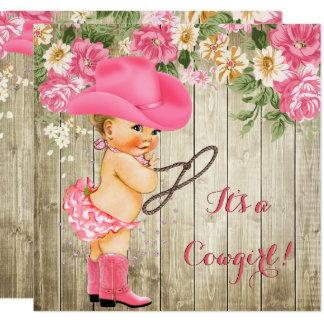 Cowgirl-Babyparty-Rosa lädt blondes mit Blumenbaby Karte