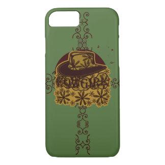 Cowgirl-Blumen-Hut-Gelb auf Grün iPhone 8/7 Hülle