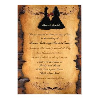 Cowgirl-Braut-kundenspezifische lesbische 12,7 X 17,8 Cm Einladungskarte