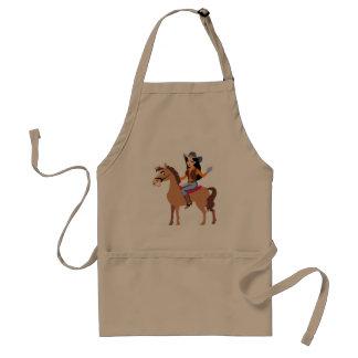 Cowgirl, das eine PferdeSchürze reitet Schürze