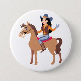 Cowgirl, das einen Pferdeknopf reitet Runder Button 7,6 Cm