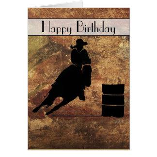 Cowgirl-Fass-Rennläufer-alles Gute zum Geburtstag Grußkarte
