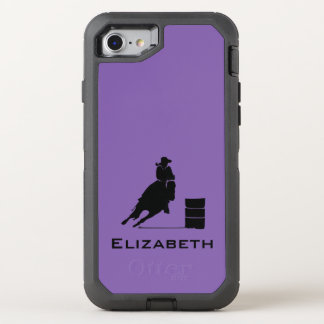 Cowgirl-Fassracer-Silhouette-Rodeo auf Lila OtterBox Defender iPhone 8/7 Hülle