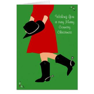 Cowgirl im Stiefel-Land - Weihnachtsgruß-Karte Karte
