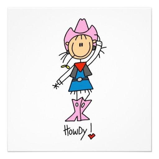 Cowgirl in den rosa T-Shirts und in den Geschenken Einladung