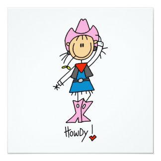 Cowgirl in den rosa T - Shirts und in den Quadratische 13,3 Cm Einladungskarte