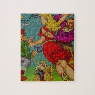Cowgirl in einem roten Kleid Puzzle