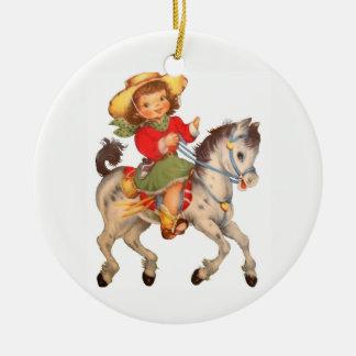 Cowgirl-Kind Keramik Ornament