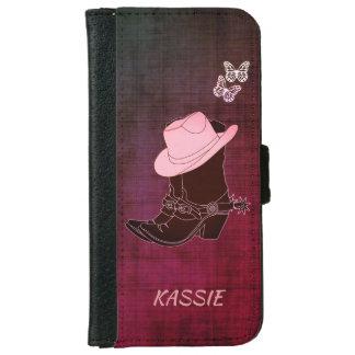 Cowgirl lädt Hut-Schmetterling personalisierten Geldbeutel Hülle Für Das iPhone 6/6s