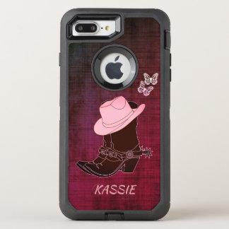 Cowgirl lädt Hut-Schmetterling personalisierten OtterBox Defender iPhone 8 Plus/7 Plus Hülle