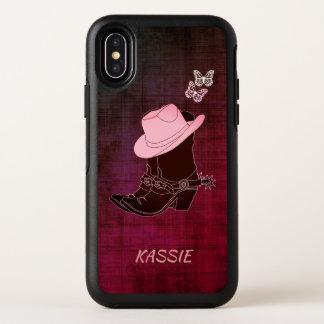 Cowgirl lädt Hut-Schmetterling personalisierten OtterBox Symmetry iPhone X Hülle