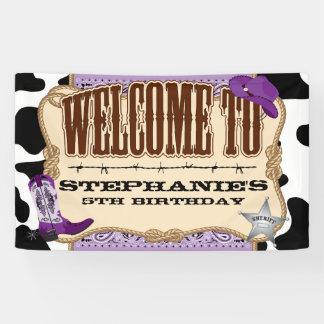 Cowgirl, lila Geburtstag, Willkommen Banner
