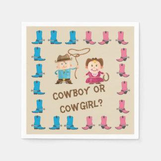 Cowgirl-oder Cowboy-Geschlecht decken Serviette