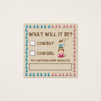 Cowgirl-oder Cowboy-Geschlecht decken Stimmzettel Quadratische Visitenkarte
