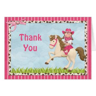 Cowgirl-Pferdegeburtstags-Party danken Ihnen Karte