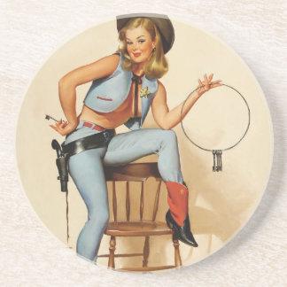 Cowgirl-Pin-up-Girl Getränkeuntersetzer