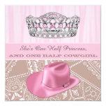 Cowgirl-Prinzessin Birthday Party Quadratische 13,3 Cm Einladungskarte