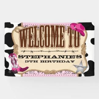 Cowgirl, rosa Geburtstag, Willkommen Banner