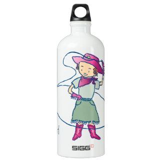 Cowgirl-Rosen-Rodeo-Championlasso-Tricks Aluminiumwasserflasche