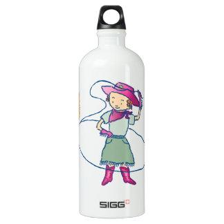 Cowgirl-Rosen-Rodeo mit Kaktus Wasserflasche