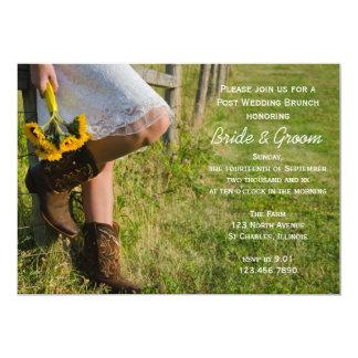 Cowgirl-und Sonnenblume-Posten-Hochzeits-Brunch 12,7 X 17,8 Cm Einladungskarte