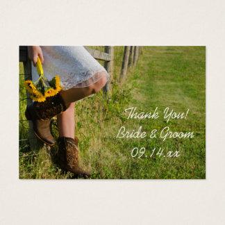 Cowgirl-und Sonnenblume-Western-Gastgeschenk Visitenkarte