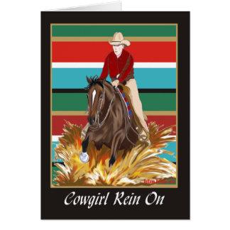 Cowgirl-Zügel auf leerer Karte