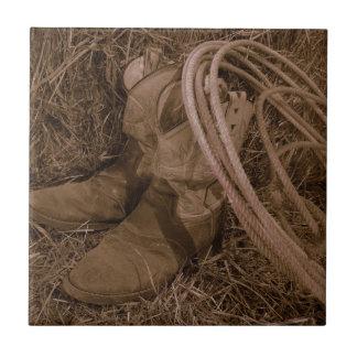 Cowgirlstiefel u. Lariat Kleine Quadratische Fliese